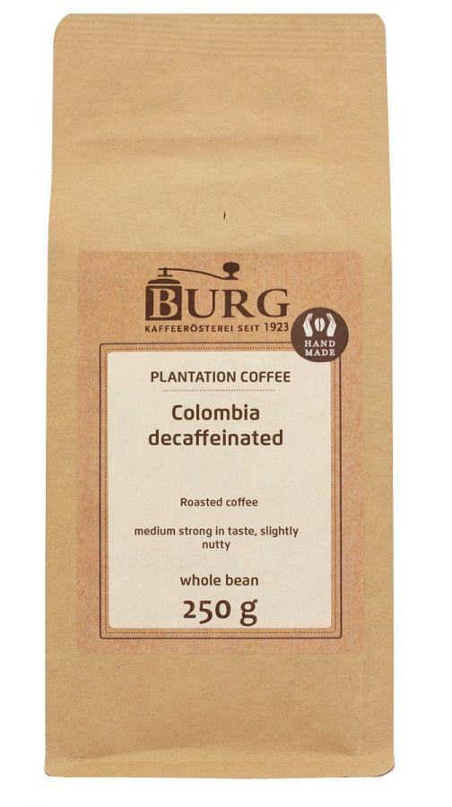 Burg Colombia Excelso koffeinfritt kaffe 250 g kaffebönor