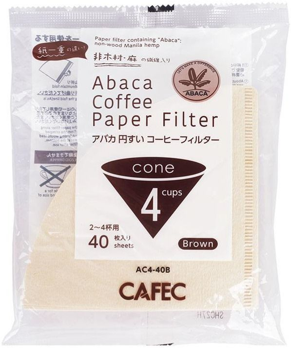 CAFEC ABACA Cone-Shaped filterpapper 4 koppar, brun 40 st