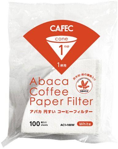 CAFEC ABACA Cone-Shaped filterpapper 1 kopp, vit 100 st