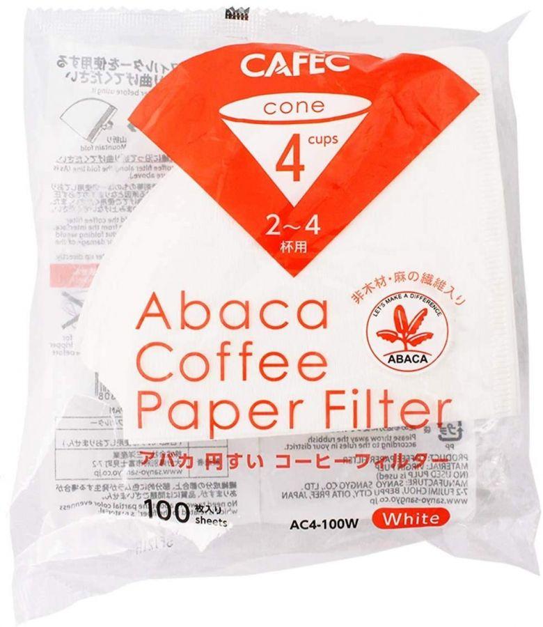 CAFEC ABACA Cone-Shaped filterpapper 4 koppar, vit 100 st