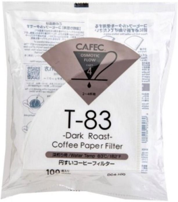 CAFEC Dark Roast T-83 Coffee Paper Filter 4 Cup, 100 st