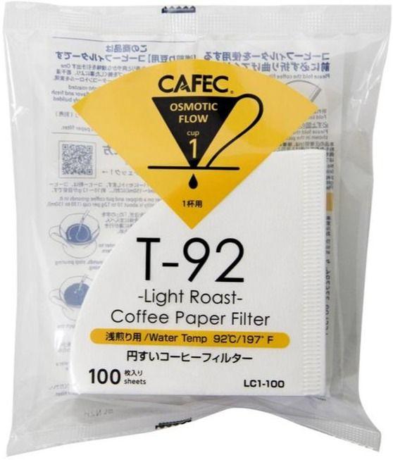 CAFEC Light Roast T-92 Coffee Paper Filter 1 Cup, 100 st