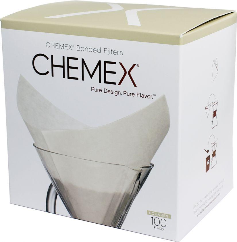 Chemex Pre-folded Squares fyrkantiga kaffefilter till 6, 8 och 10 koppars bryggare, 100 st.