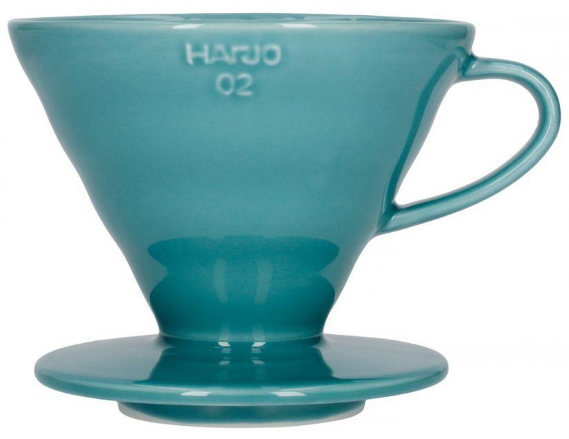 Hario V60 Dripper storlek 02 filterhållare i porslin, turkos