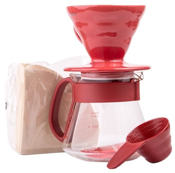 Hario Pour Over Kit V60-01 keramisk, röd