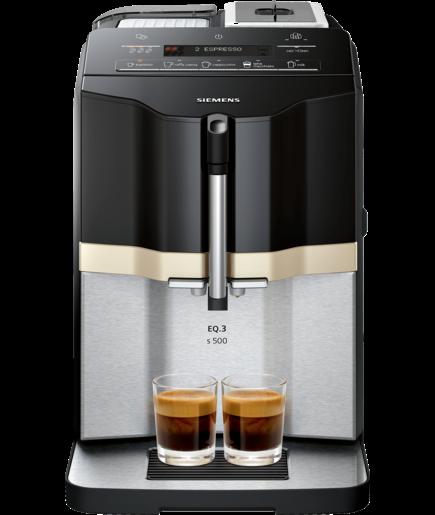 Siemens EQ.3 Series 500 -kaffeautomat, piano svart-stål