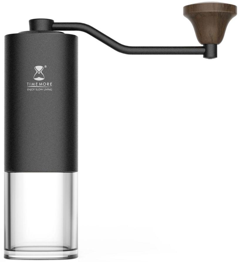 Timemore Chestnut manuell kaffekvarn, svart med transparent bas
