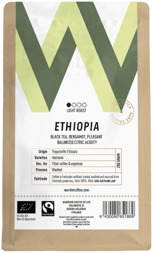 Warrior Coffee Ethiopia Yirgacheffe 250 g kaffebönor