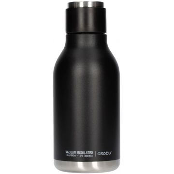 Asobu Urban Water Bottle dricksflaska i rostfritt stål 460 ml, svart