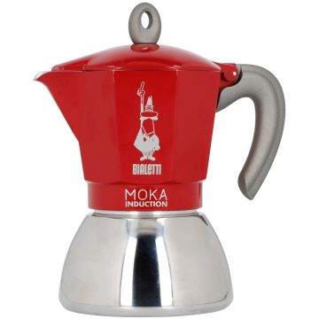 Bialetti Moka Induction Red mokabryggare, 6 koppar