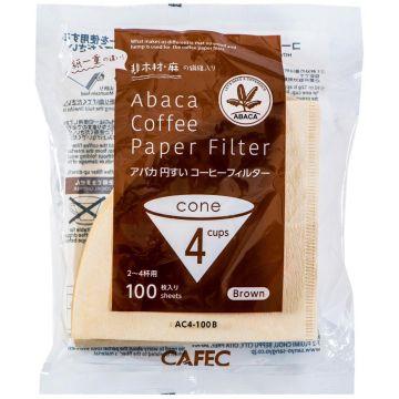 CAFEC ABACA Cone-Shaped filterpapper 4 koppar, brun 100 st
