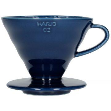 Hario V60 Dripper storlek 02 filterhållare i porslin, indigoblå