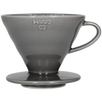 Hario V60 Dripper storlek 02 filterhållare i porslin, grå