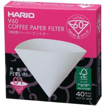 Hario V60 kaffefilter storlek 01, 40 st