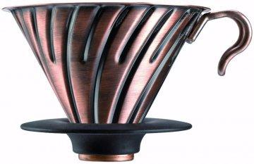 Hario V60 Dripper storlek 02 filterhållare i stål med silikonbas, koppar