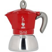 Bialetti Moka Induction Red mokabryggare, 4 koppar
